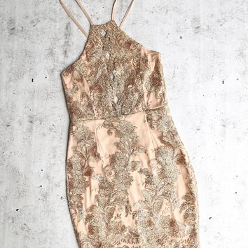 dulce open back embroidered dress - mocha