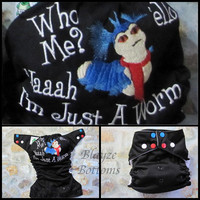 MADE TO ORDER Labyrinth 'Ello Worm, Who Me? Nah I'm Just a worm. One Size Pocket or Diaper Cover