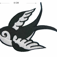 Swallow bird Iron on / sew on Embroidery Patch Badge Embroidered Martins Motif