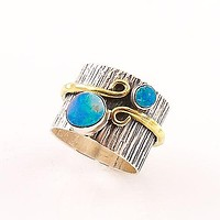 Australian Fire Opal Two Tone Sterling Silver Band Ring