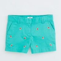 Girls Watermelon Embroidered Shorts