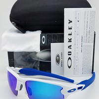 NEW Oakley Flak 2.0 XL sunglasses White Sapphire 9188-20 TEAM blue XLJ Jacket