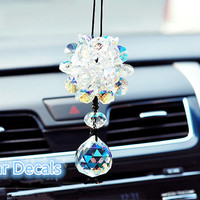 Crystal Ball Rear View Mirror Charm Monogram Crystal Ball Car Accessories Decal