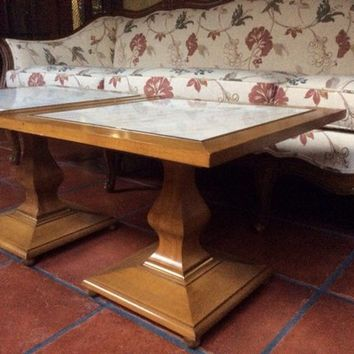 Pair Mid Century Marble Inlay End Tables