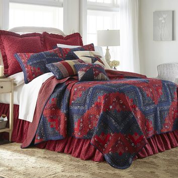 Donna Sharp Plymouth Log Cabin Quilted Country Cottage Cotton Queen 3-Piece Set