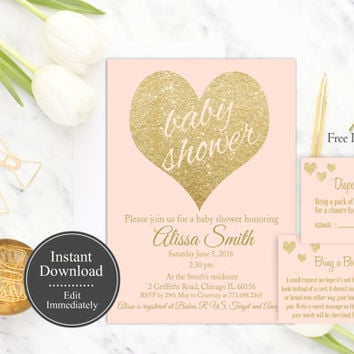 Pink Gold Baby Shower Invitation Printable, Instant Download, Girl Shower Invite, Gold Glitter, Baby Shower Invite Template, DIY, Digital