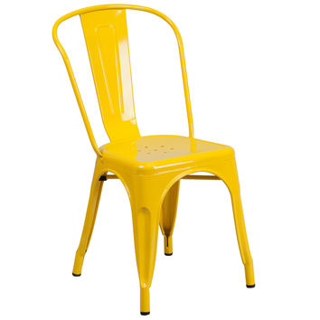Flash Furniture Yellow Metal Indoor-Outdoor Stackable Chair [CH-31230-YL-GG]