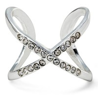 Women's Criss Cross Ring with Pave - Silver (7)