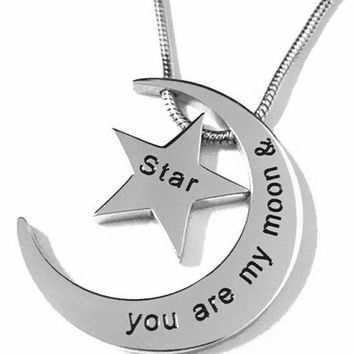 "Stainless Steel ""You Are My Moon & Star"" BFF Love Pendant Necklace"