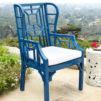 Blue Chinoiserie Outdoor Wing Chair