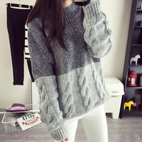 2016 New Korean Spring Autumn Thick Coarse Wool Knitted Sweater Girls Fashion Casual Patchwork turtleneck Grey cashmere pullover