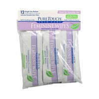 Puretouch Individual Flushable Moist Feminine Wipes - 12 Packets