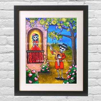 Day of the Dead Skeleton Serenade Romantic Mexican Folk Art Small Print Gothic Wedding Home Decor