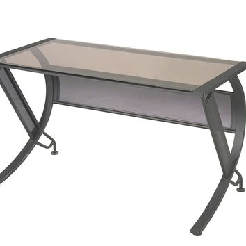 Office Star Black Frame Bronze Glass Horizon L Shaped Computer Desk
