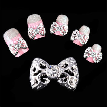 New 2015 Lot 10Pcs 3D Clear Alloy Bow Tie Nail Art Glitter Slices Glod Sliver Diy Bowknot Nail Rhinestone NA514