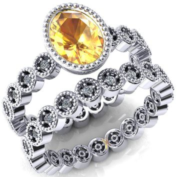 Borea Oval Yellow Sapphire Full Bezel Milgrain Diamond Accent Full Eternity Ring