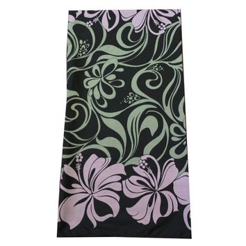 Lava Lava Men's Sarong Wrap Black and Purple Weavy Hibiscus