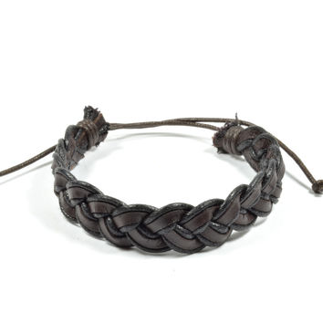 Braided Brown and Black Leather Bracelet