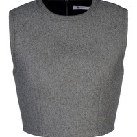 T By Alexander Wang Knit Crop Top - Grey Top - ShopBAZAAR