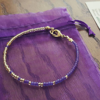 Simple + Stunning Seed Bead Friendship Bracelet // Gold + Purple Ombre // Stackable Bracelet // Customizable