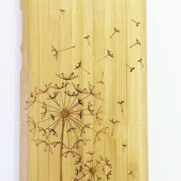 handmade bamboo wool carving Dandelion iPhone 4s iPhone 5s 6 6s plus creative case