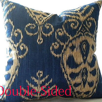 Ikat  Pillow cover,  Sapphire Navy 16x16 pillow cover Double Sided