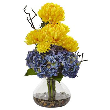 Artificial Flowers -Hydrangea And Mum In Vase No5 Silk Plant