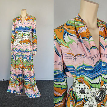 Vintage 70s Mod Feathers Plunge Palazzo Pants Maxi Pantsuit Mad Men Zig Zag Boho Maxi Pants Tunic Dress Top Boho Hippie Disco