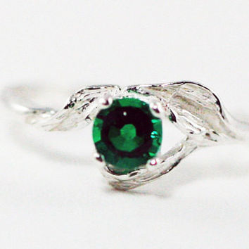 Emerald Leaf Ring Sterling Silver, May Birthstone Ring, Sterling Silver Leaf Ring, Emerald Leaf Ring, 925 Sterling Silver Ring