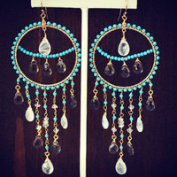 ELENA Dea Bohemian Elegant Gypsy Dangle Chandelier Turquoise Earrings
