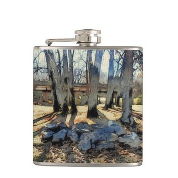 Fall Scene Vinyl Wrapped Flask