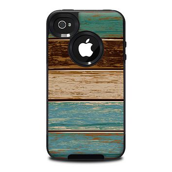 The Wooden Planks with Chipped Green and Brown Paint Skin for the iPhone 4-4s OtterBox Commuter Case
