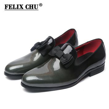 FELIX CHU Brand Luxury Genuine Patent Leather Men Wedding Dress Shoes With Bow Tie Men's Banquet Party Formal Loafers #D509-6