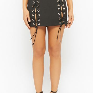 Lace-Up Grommet Mini Skirt