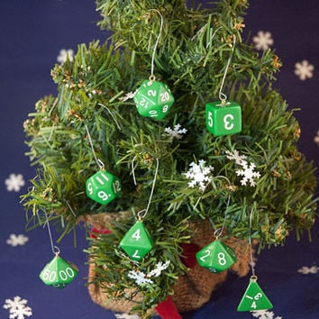Green and White Dice Ornaments - Gamer Christmas Decorations