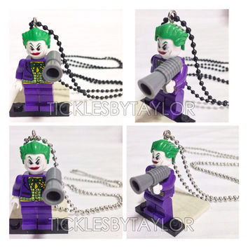 BOGO Buy 1 Get 1 Promo! Lego® The JOKER Necklace, Joker in Batman, Lego Superhero Necklace, FREE Lego® Minifigure Necklace Party Favors Gift