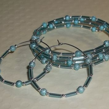 Teal Stardust Beads & Bugle Beads Silver Plated Artisan Crafted Wrap Bracelet Hoop Earring Jewelry Set