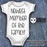 Newest Member of The Family Baby Onesuit, Fullprint Onesuit Bodysuit