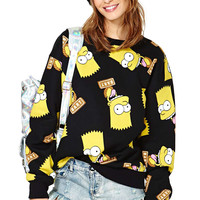Black Simpson Print Sweater
