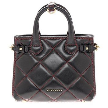 "Burberry Women's ""Baby Banner"" Quilted Lambskin Mini Tote Black Red"