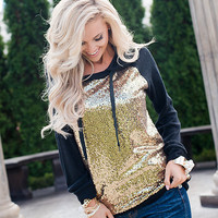Holiday Sparkly Sequins Hoodie Black
