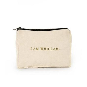I Am Who I Am Canvas Pouch ~ Peach