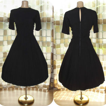 Vintage 50s Black Pleated New Look Full Sweep Day Dress M/L 60s