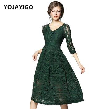 2017 Summer New Pattern Women Dress,V-Neck Hollow out Lace Slim Sexy Fashion Party Dress,Black And Dark Green Casual Vestidos