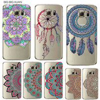 Floral Paisley Flower Mandala Henna Phone Case For Samsung Galaxy S5 S6 S6Edge S6edgeplus S7 S7edge Clear Silicon Soft Fundas
