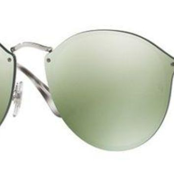 RAY BAN 3574N 3574/N 59 003/30 BLAZE SILVER SUNGLASSES GREEN SILVER LUNETTES
