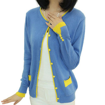 Women's Cashmere Patchwork O-Neck Sweaters and Cardigans Wool Elastic Sweater Slim Knitted Casual Candy Color Cardigan