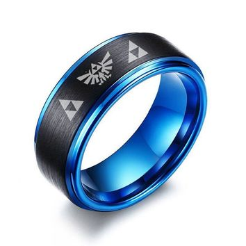 Men's Black Tungsten Carbide Two Tone Blue Step Edge Ring with Legend of Zelda Triforce Laser Engraved Wedding Bands Men Jewelry