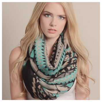 """Always My Style"" Tribal Geo Print Infinity Scarf"