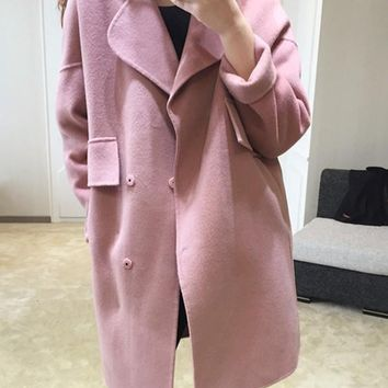 New Lotus Pink Pockets Turndown Collar Long Sleeve Elegant Coat
